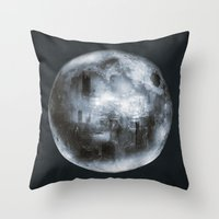 dark side of the moon Throw Pillows featuring The Dark Side of the Moon by Viviana Gonzalez