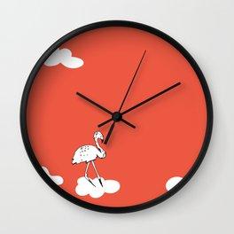Flying Flamingo by McKenna Sanderson Wall Clock