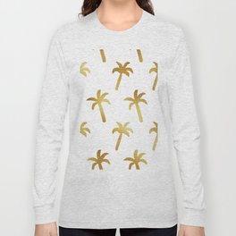 golden foil palm trees pattern Long Sleeve T-shirt