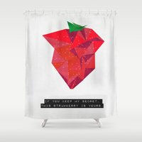 mucha Shower Curtains featuring If you keep my secret, this strawberry is yours. by Mehdi Elkorchi