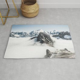 Mountain Tops Above Clouds And Snow Rug
