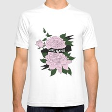Girl Gang Illustration White SMALL Mens Fitted Tee
