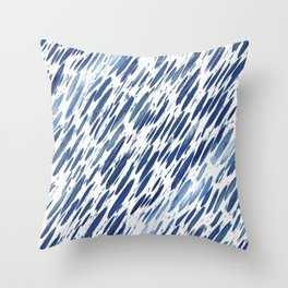 Boho Blue Brushstroke Throw Pillow