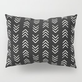 Charcoal & soft white brushed arrow heads, textured background Pillow Sham