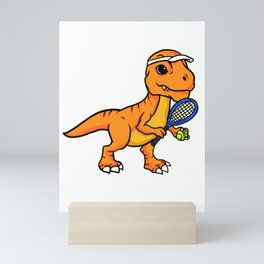 Fun Tennis Saurus Rex Baby Dinosaur Tennis Player Mini Art Print