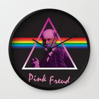 freud Wall Clocks featuring Pink Freud by Priscylla Cabral