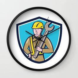 Construction Worker Spanner Shield Cartoon Wall Clock