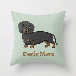 Cute Black Tan Dachshund Dog Doxie Mom Throw Pillow