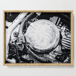 Motorcycle Engine Details Black White Serving Tray