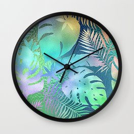 Iridescent Tropical Leaves Pattern In Shimmering Rainbow Colors Wall Clock