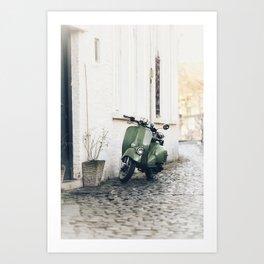 Green Moped Art Print