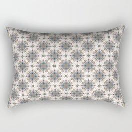 Brown and Blue Geometric - Squares and Circles Rectangular Pillow