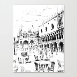 Sketch of San Marco Square in Venice Canvas Print
