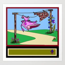 Homestead Clothesline in the Country Art Print