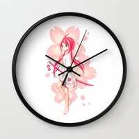 sakura Wall Clocks featuring Sakura by Freeminds