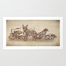 Steampunk Animals 4 Art Print