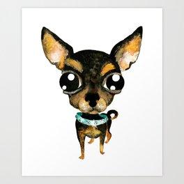 Cute chihuahua dog Art Print