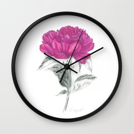 Peony 01 Botanical Flower *Pink, Magenta Wall Clock