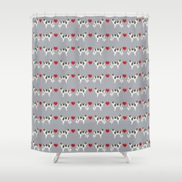 Border Collie love hearts dog breed gifts collies herding dogs pet friendly Shower Curtain