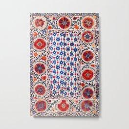 Kermina Nim Suzani  Antique Uzbekistan Embroidery Print Metal Print