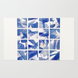 Chinoiserie Blue and White China 16 Square Tile Rug