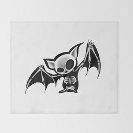 Skeleton bat Throw Blanket