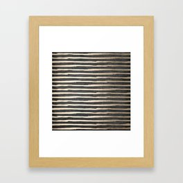 White Gold Sands Thin Stripes on Black Framed Art Print