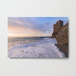 Golden hour with a lighthouse in the beach Metal Print