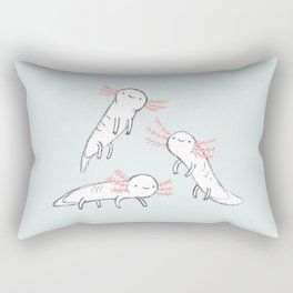 Three Little Axolotls Rectangular Pillow