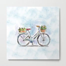 Spring Bicycle Watercolor with Flowers Metal Print
