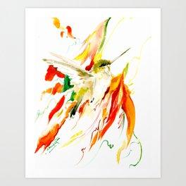 Flying Hummingbird Art Print