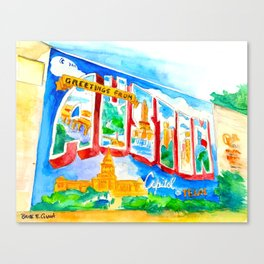 Greetings From Austin Mural watercolor Canvas Print