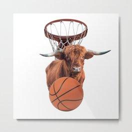 Sports Basket Ball Highland Cow Collage Metal Print