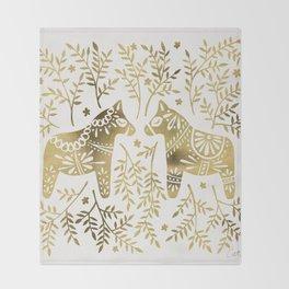 Swedish Dala Horses – Gold Palette Throw Blanket