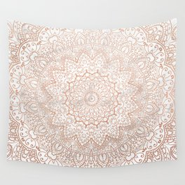 Mandala - rose gold and white marble 3 Wall Tapestry