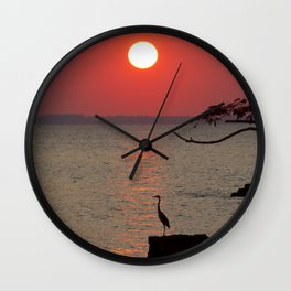 Sunset with Heron Wall Clock