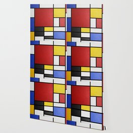 Mondrian in a Leather-Style Wallpaper
