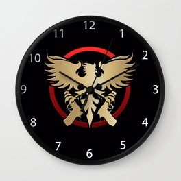 Phoenix with pistols emblem Wall Clock