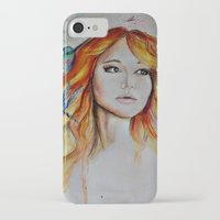 jennifer lawrence iPhone & iPod Cases featuring Jennifer Lawrence Watercolor (Light) by Halinka H