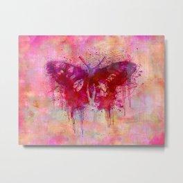 Artsy butterfly watercolor lllustration Metal Print