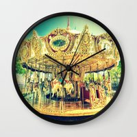 carousel Wall Clocks featuring Carousel Merry-G0-Round by Whimsy Romance & Fun