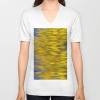 monet V-neck T-shirts featuring Autumn on the Monet by David Pyatt