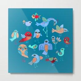 Quirky Birds Metal Print