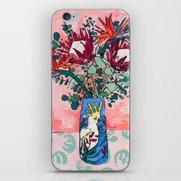 Cockatoo Vase on Painterly Pink iPhone Skin