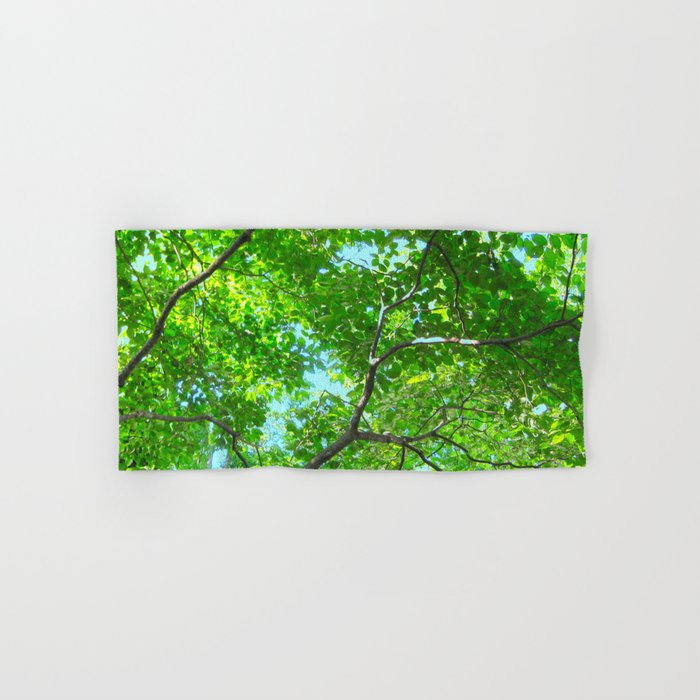 Canopy of Green, Leafy Branches with Blue Sky Hand & Bath Towel