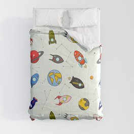 Rockets and planets space print Comforters