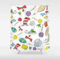 dr seuss Shower Curtains featuring dr seuss pattern..  cat in the hat, lorax, oh the places you'll go,  by studiomarshallarts