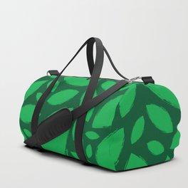 Painted Tree Leaves V2 - Green Duffle Bag
