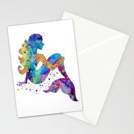 Mermaid Art Mermaid Sitting Colorful Watercolor Artwork Mermaid Lovers Gift Stationery Cards