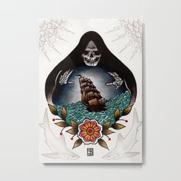 Tonight We Make Our Bed At The Bottom Of The Sea Metal Print